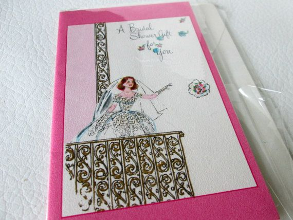 vintage bridal shower card wedding card shower gift card retro bride in midcentury