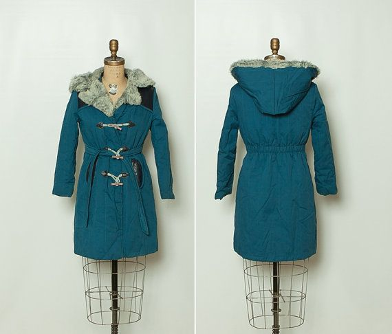 vintage 1970s toggle coat with hood by Stop the Clock Vintage