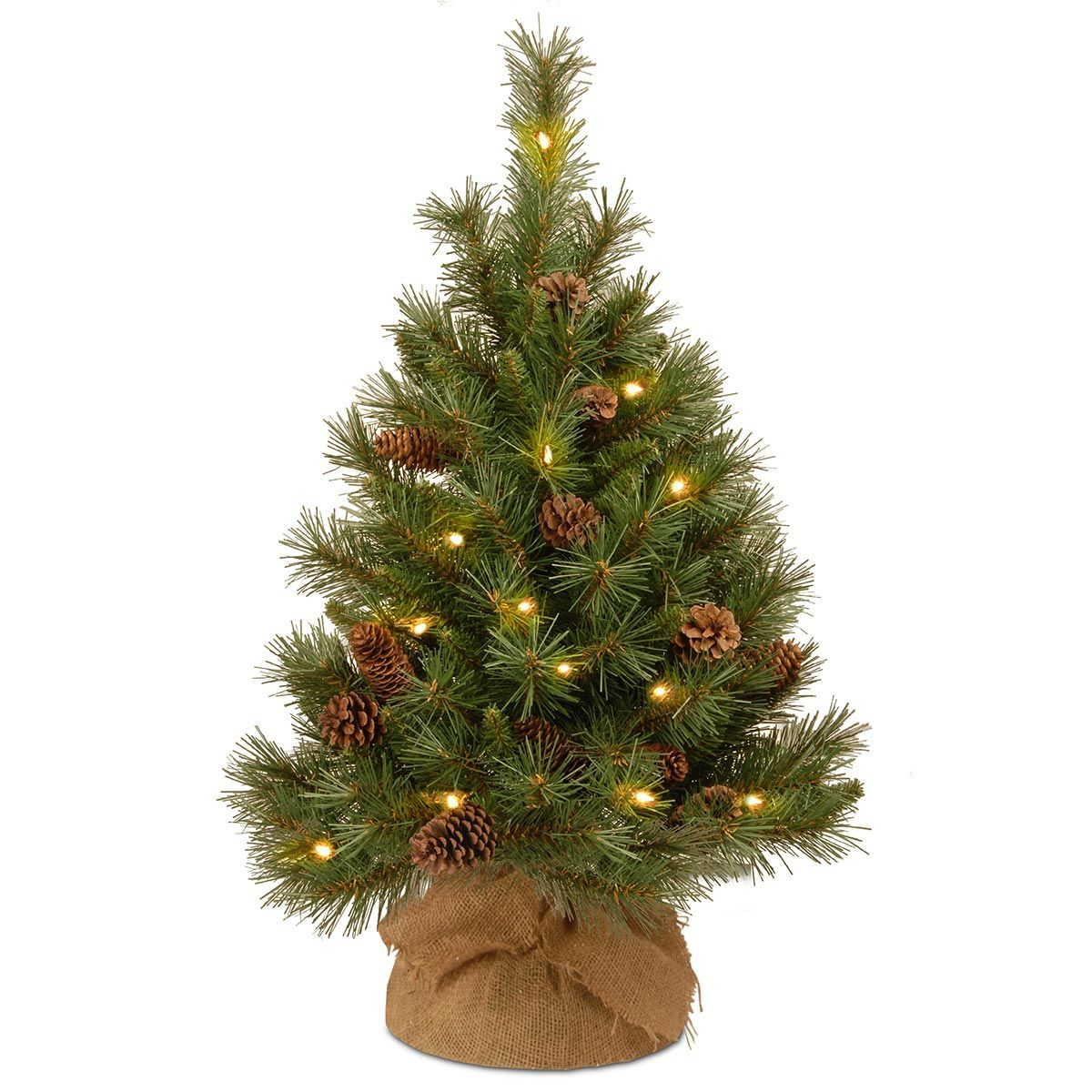 High Quality 3ft Pre Lit Battery Operated Pine Cone Burlap Artificial Christmas Tree