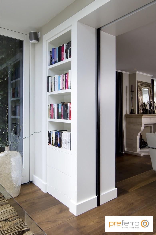 Stalen schuifdeur in woonkamer | Huiskamer | Pinterest - Deuren ...
