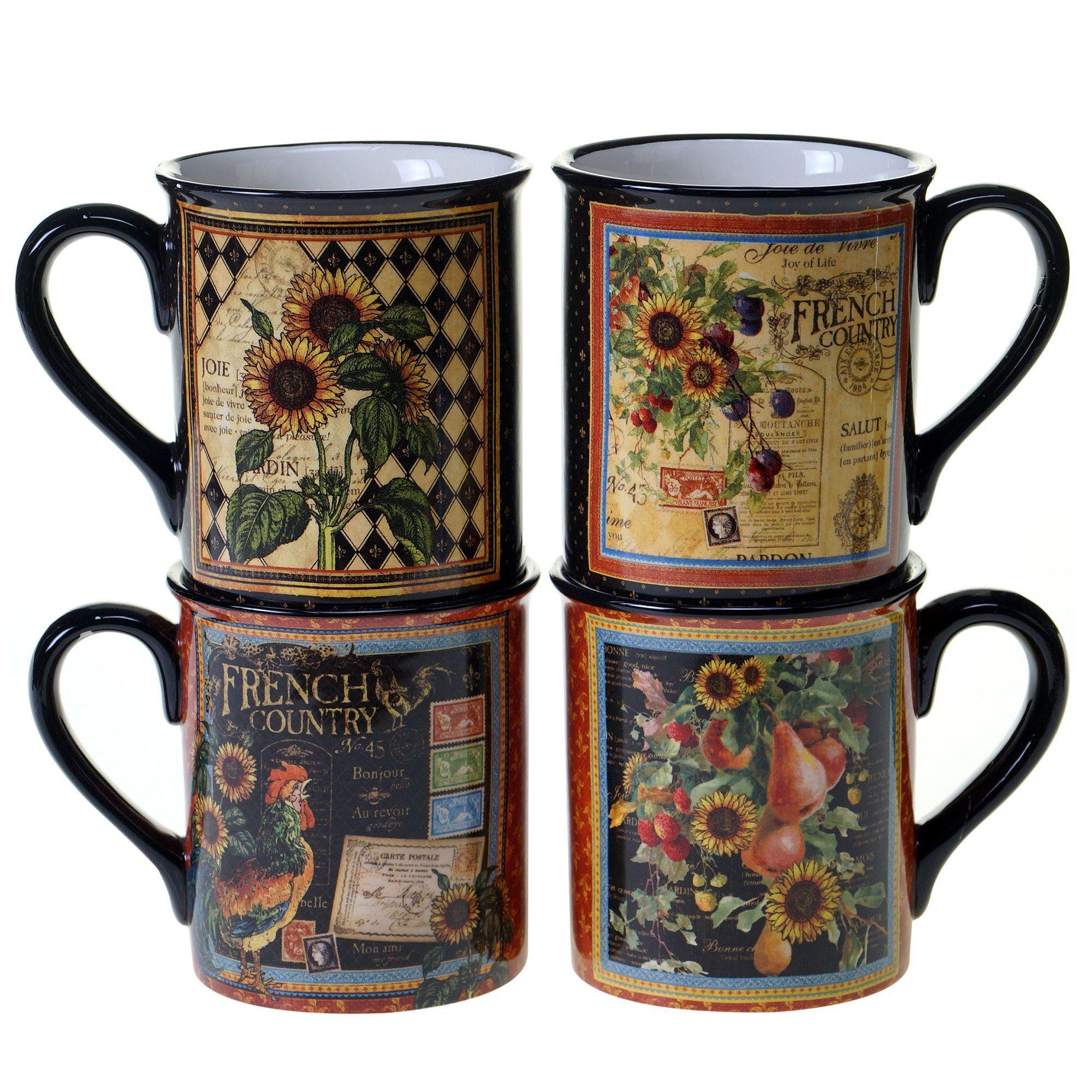 French Country 4 Piece 16 oz. Mug Set Mugs, Mugs set