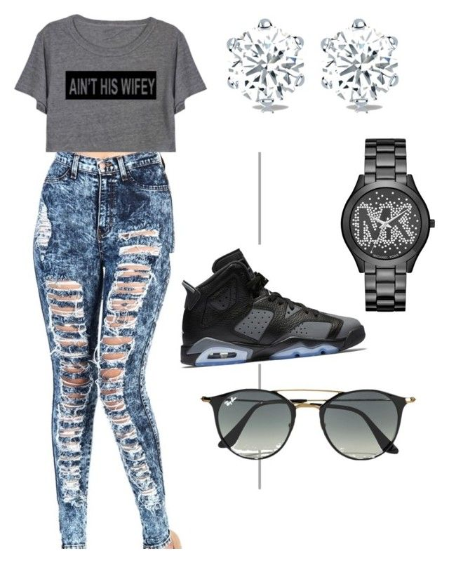 fad4dcfe65dee9 How to wear Jordans by suvareajefferson on Polyvore featuring Michael Kors  and Ray-Ban
