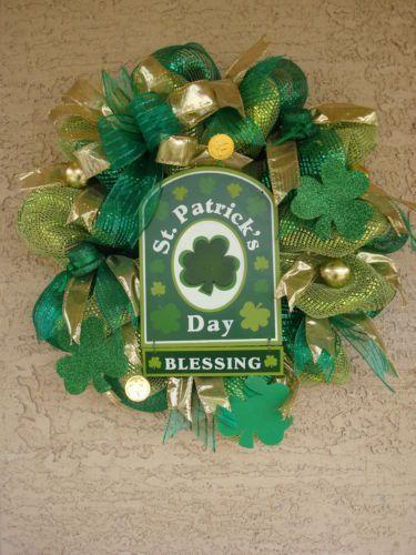 ST. PATRICK'S DAY Deco Mesh Wreath Arrangement by myhomeflorals