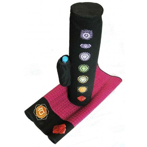 Chakra Yoga Mat Bag Embroidered Chakras In Original Colours And Symbols Water Resistant Lining Sy