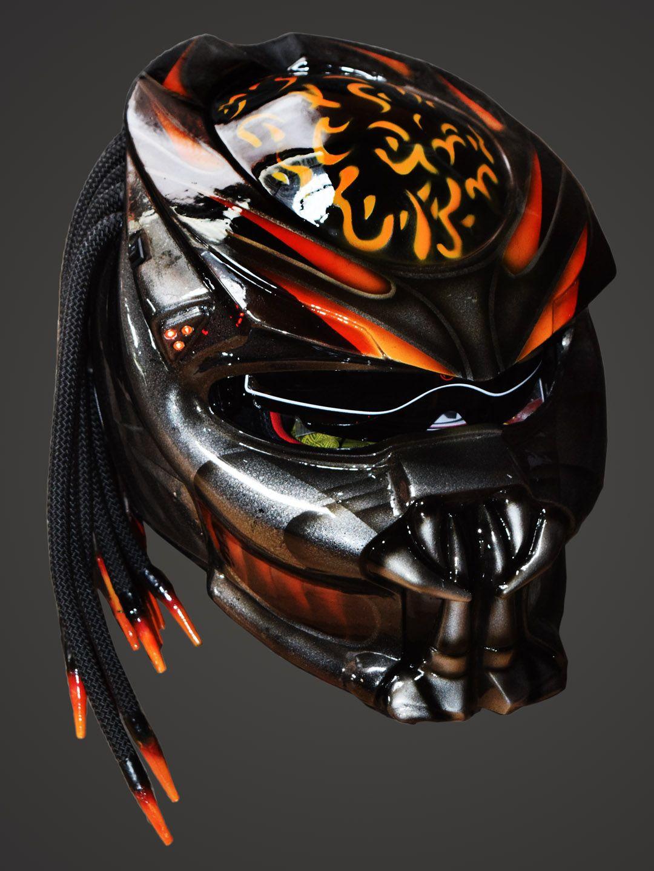 Custom Red and Black Cyber Predator Real Motorcycle Helmet