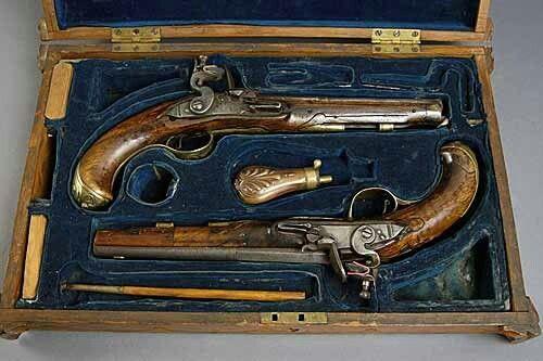 Dueling Pistols Mounted On Wall As Decoration Pistol Guns Guns Pistols