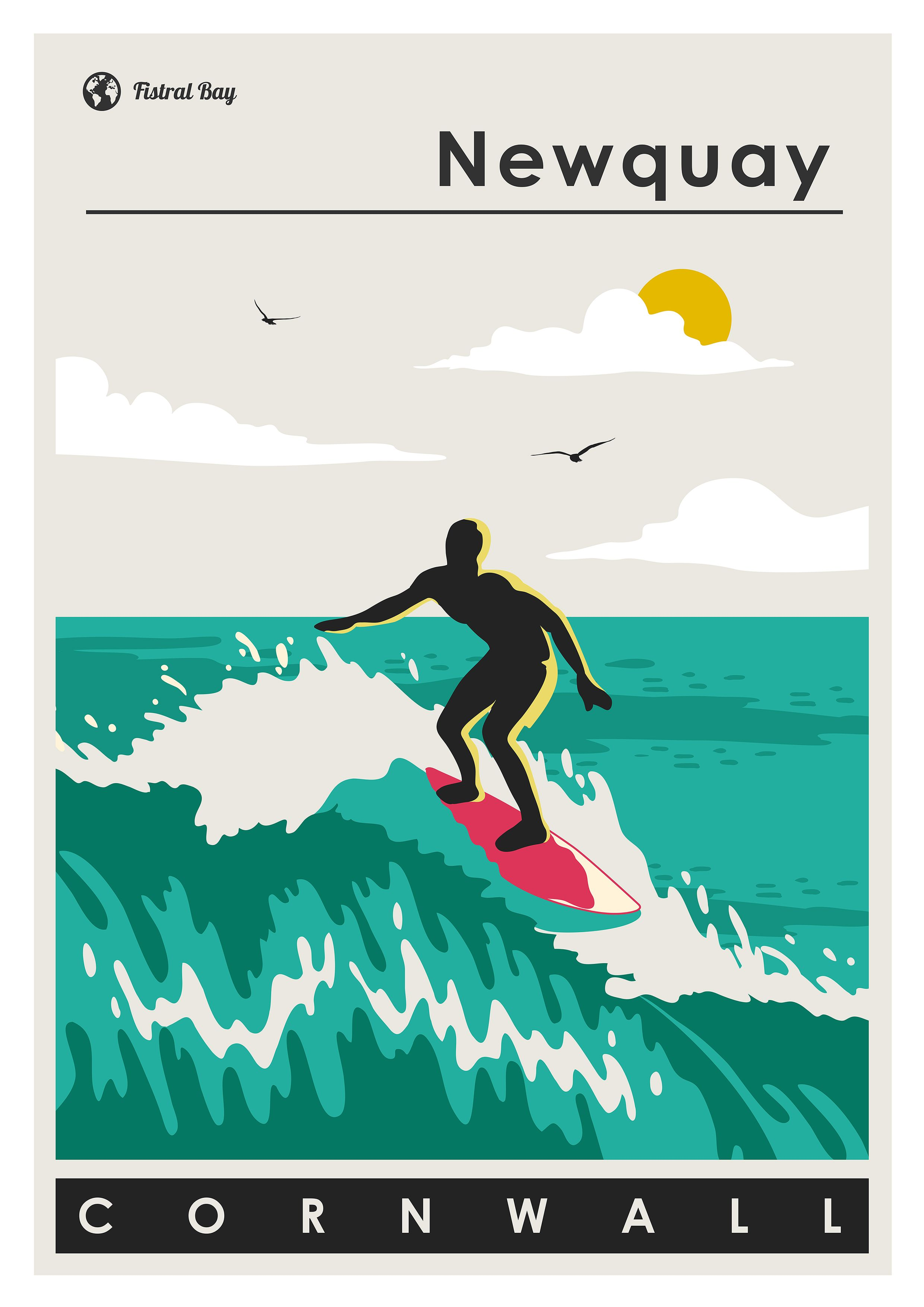 Newquay Surf Poster Cornwall Travel Poster Coastal Decor