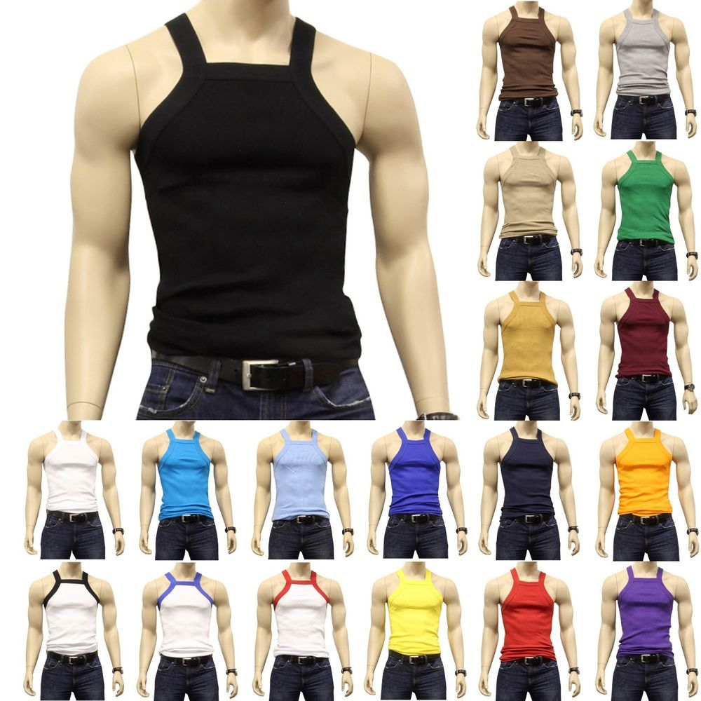 8082a176f4563 G UNIT Square Cut Ribbed Tank Top Undershirt Underwear Wife Beater Mens  Cotton  Johnson  ShirtsTops