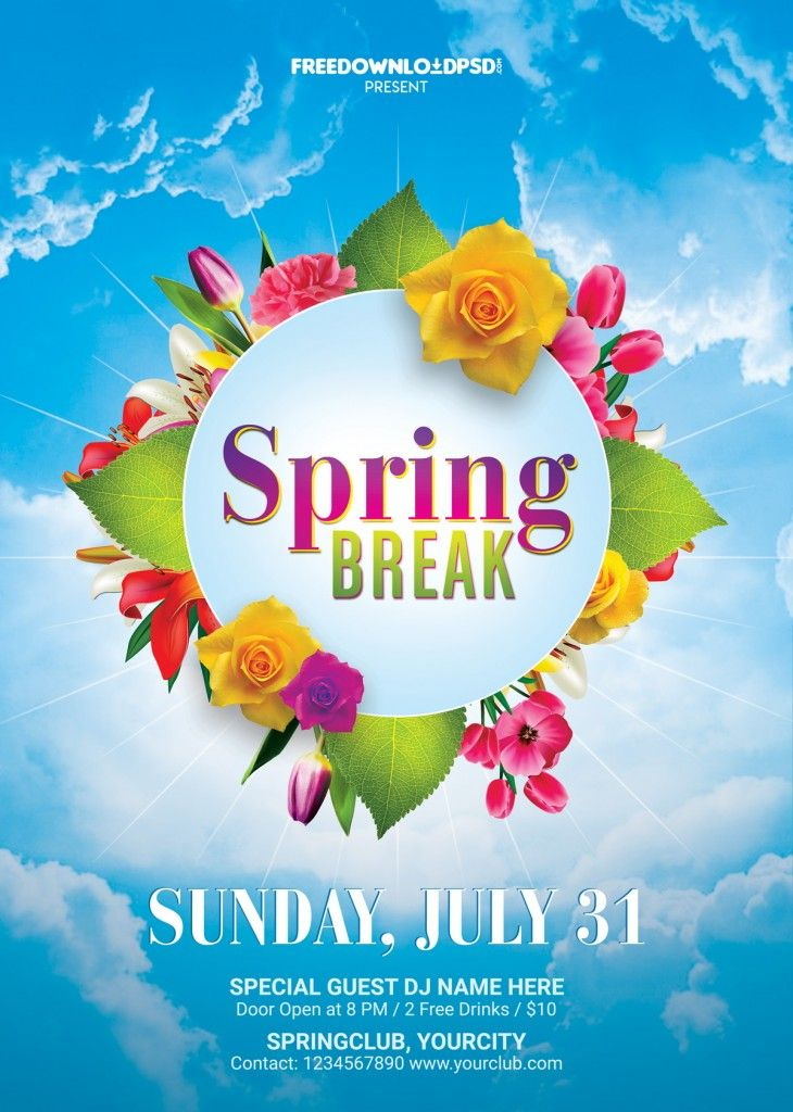 Spring Break Flyer Template Free Download Creative Genie