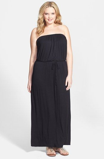 Loveappella Strapless Jersey Maxi Dress (Plus Size ...
