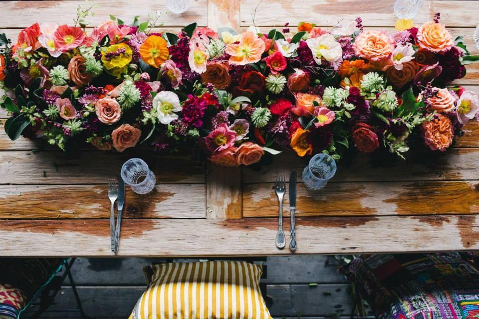 Poppin' buds as a centrepiece Flower runner wedding