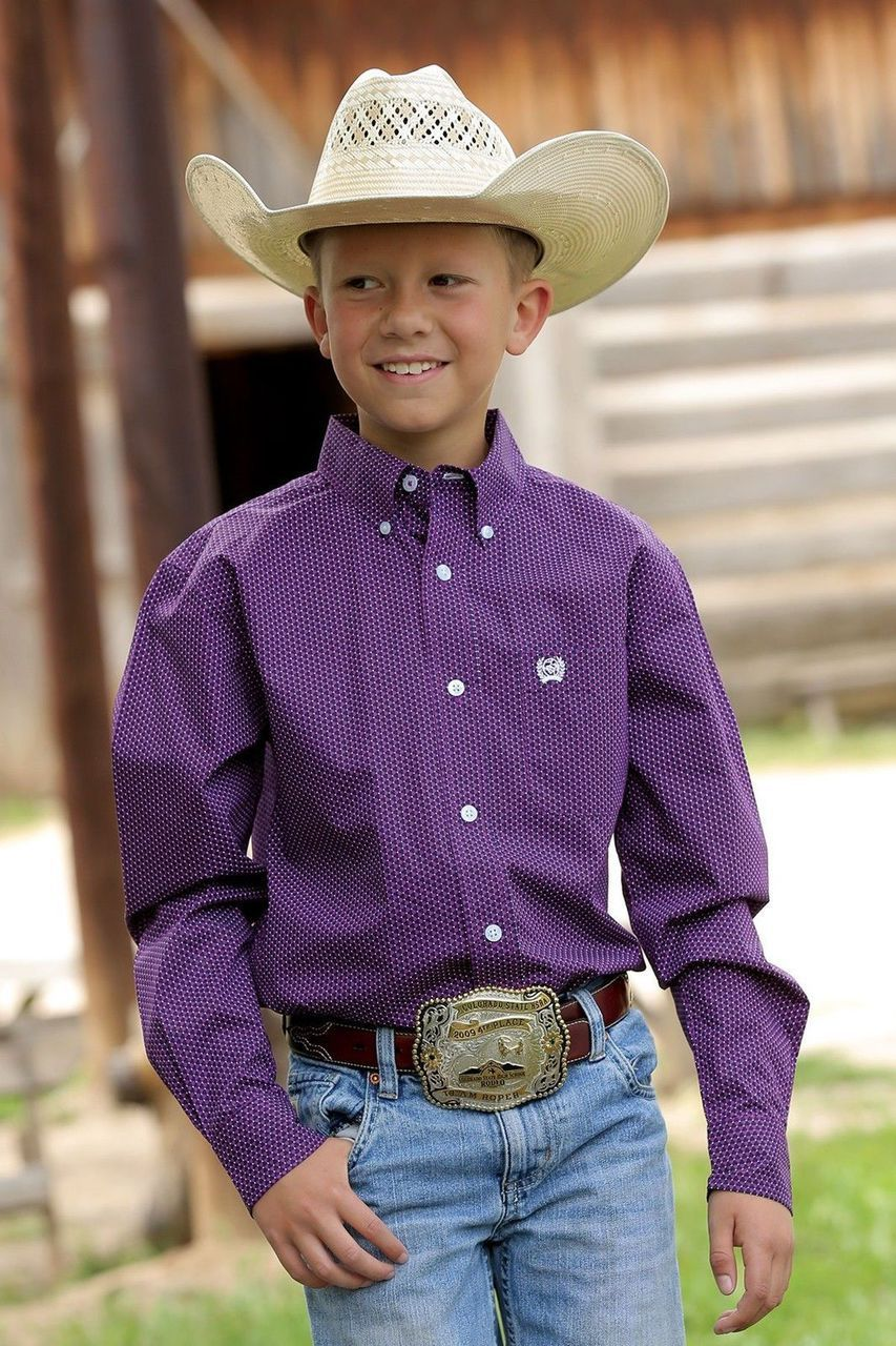 Cinch Boys Blue Printed Long Sleeve Button Front Shirt