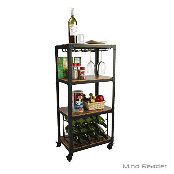 Mind Reader Mobile Kitchen Cart With Wine Rack And Stemware Storage