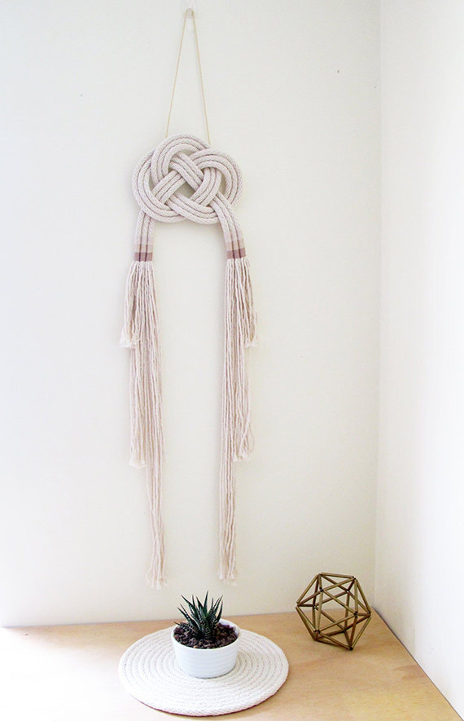 Knot Wall Art Celtic Knot Tassel Wall Hanging Natural Cotton Rope Handmade Rope Art Neutral Tones Rope Wall Hanging Nautical Decor Tassel Wall Hang Celtic Knot Rope Art