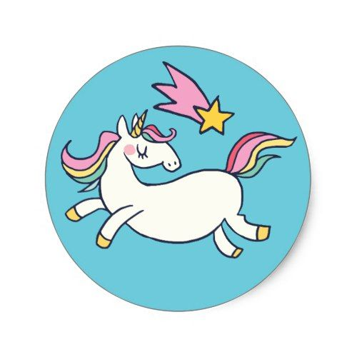 Cute birthday doodle rainbow unicorn and stars classic round sticker