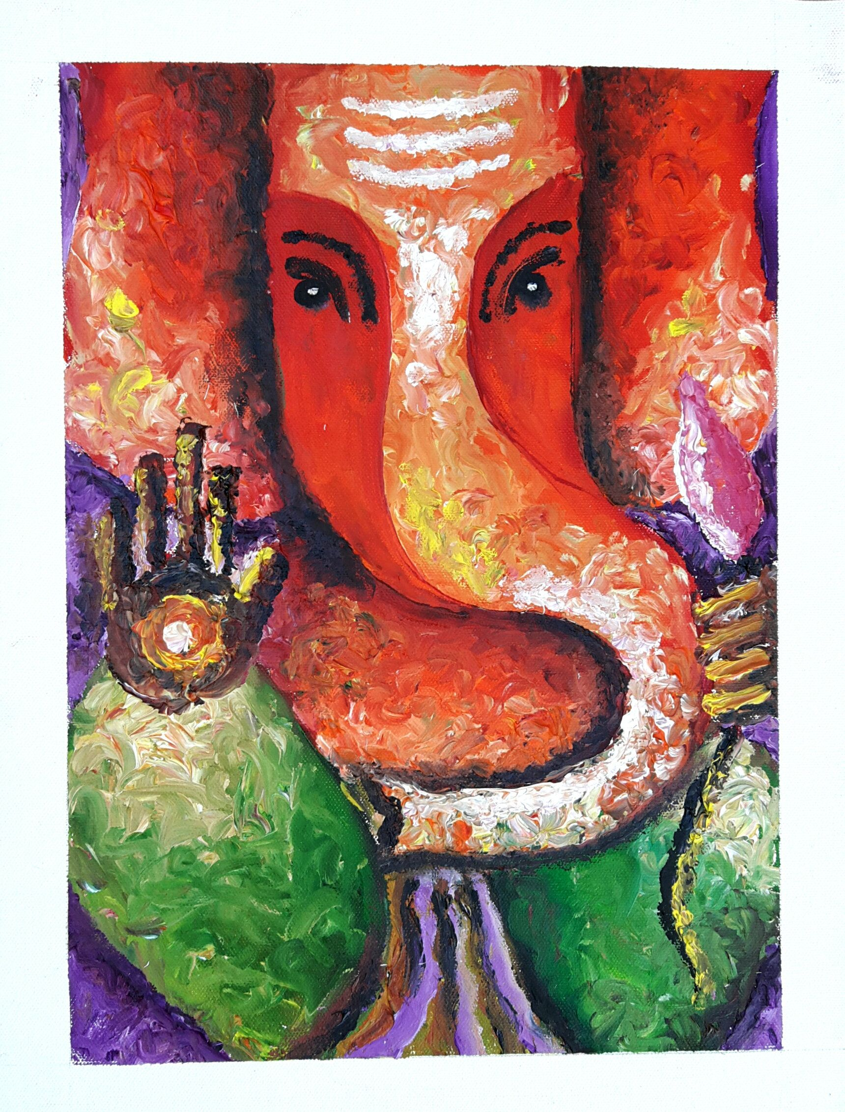 Ganesha Abstract Oil Painting | Ganesha Finger Painting ...