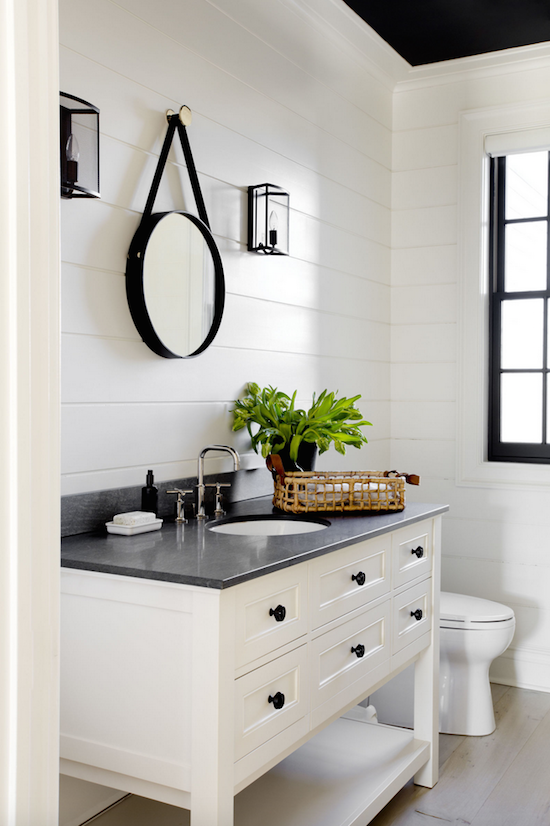 Modern farmhouse bathroom shiplap walls white vanity for Black and white bath accessories