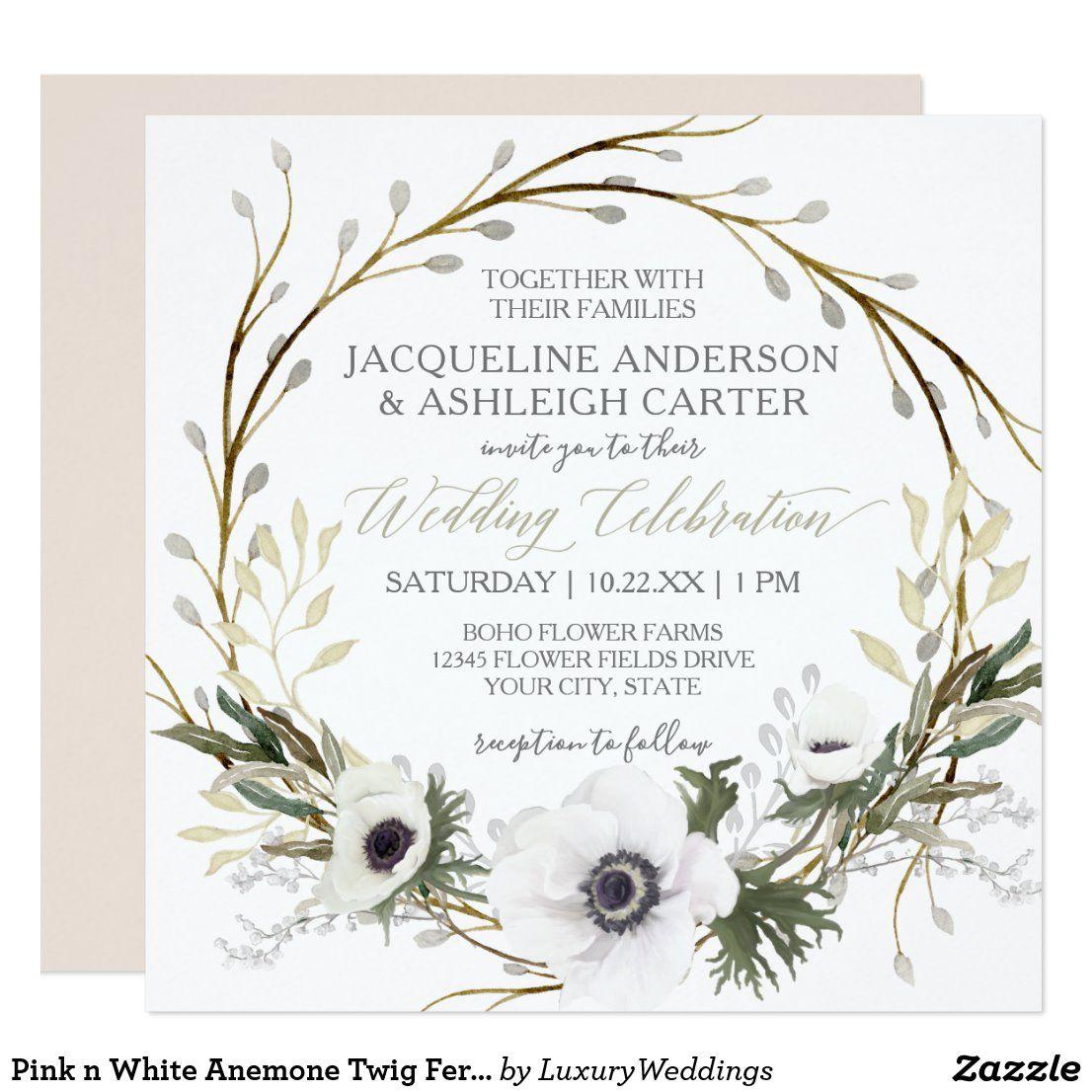 Photo of Pink n White Anemone Branch Twig Eucalyptus Wreath Invitation   Zazzle.com