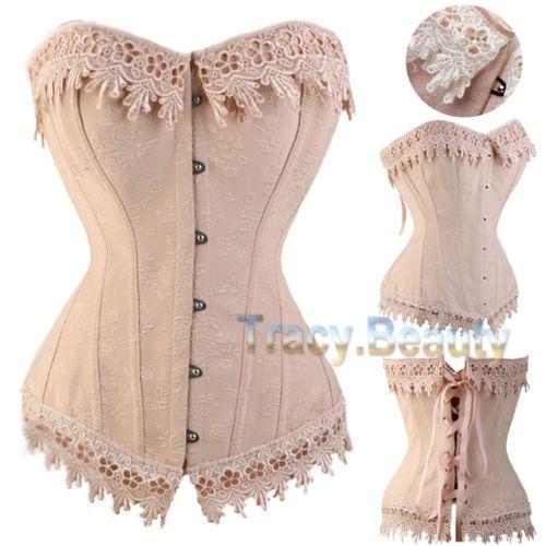 17122ca81f Renaissance Women Waist Training Corset Lace up Bustier top Overbust Boned  tb us