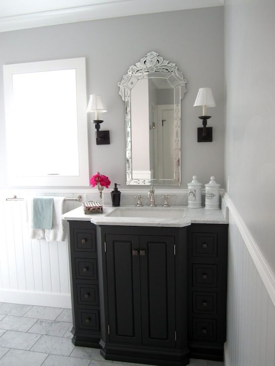 Classic Casual Home Stunning Bathroom With Gray Walls Paired With White Beadboard Backsplash