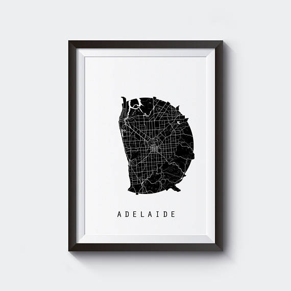 Adelaide map australia map world map maps black and white buy adelaide map australia map world map maps poster wall art wall decor interior design retro online india at kraftly gumiabroncs Image collections