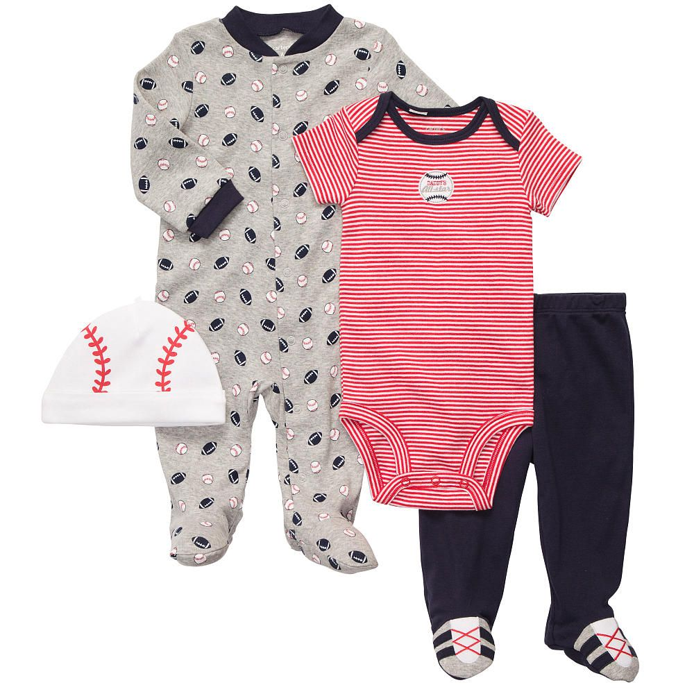 Carter S Boys 4 Piece Baseball Layette Set With Bodysuit Footed
