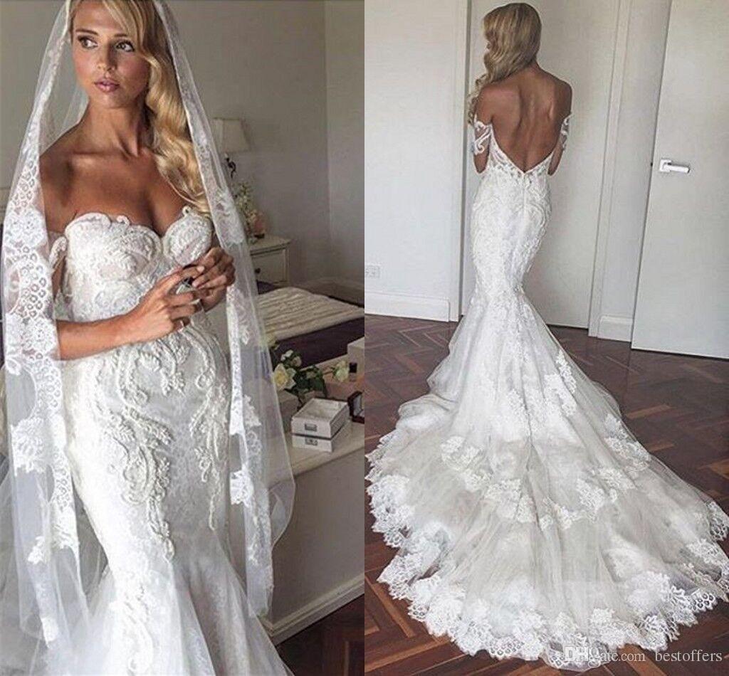 Off the shoulder lace mermaid wedding dress  Off the Shoulder  New Mermaid Wedding Dresses Backless Vintage
