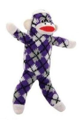 Brogan S Heroes 10 Purple Plaid Colorful Sock Monkey Dog Toy
