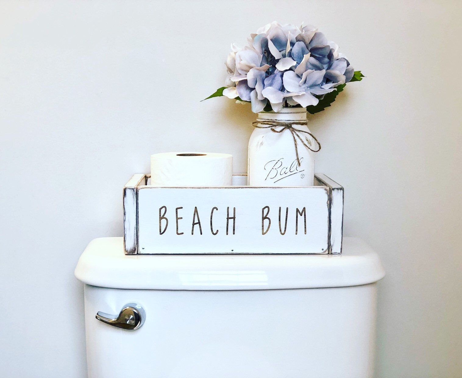 Photo of Beach Bum bathroom Decor, ocean theme Organizer Storage Box, lake bathroom, beach house, toilet paper holder tray, rustic house warming gift