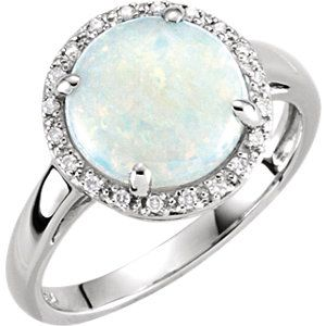 14kt White Opal 07 CTW Diamond Ring Call Martin Jewelry at