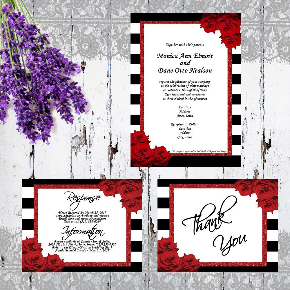 Custom Formal Wedding Invitation Set - Black/White Striped, Red ...