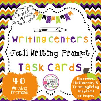 Fall Writing Prompts for Writing Centers-Upper Elementary - halloween writing ideas