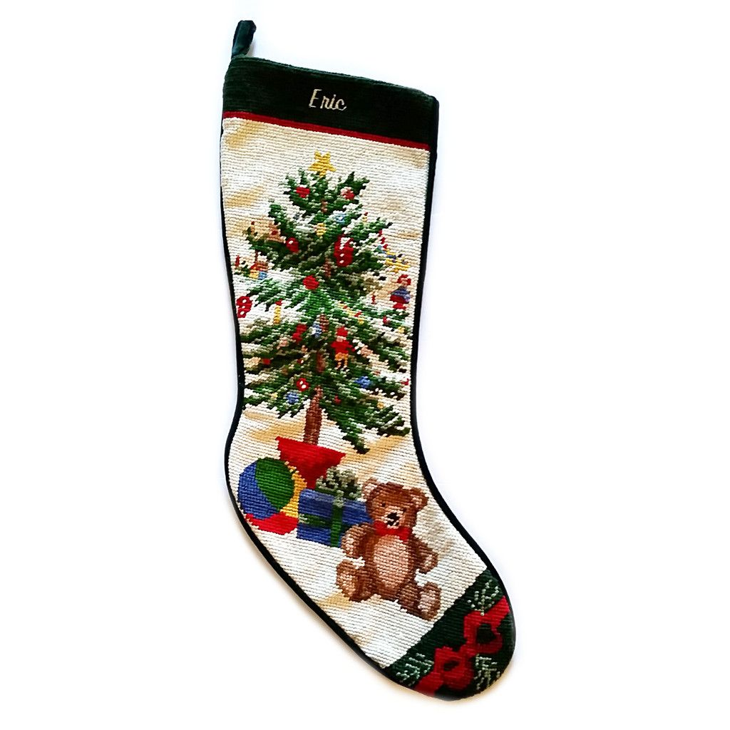Eric Holiday Tree Needlepoint Christmas Stocking 22\