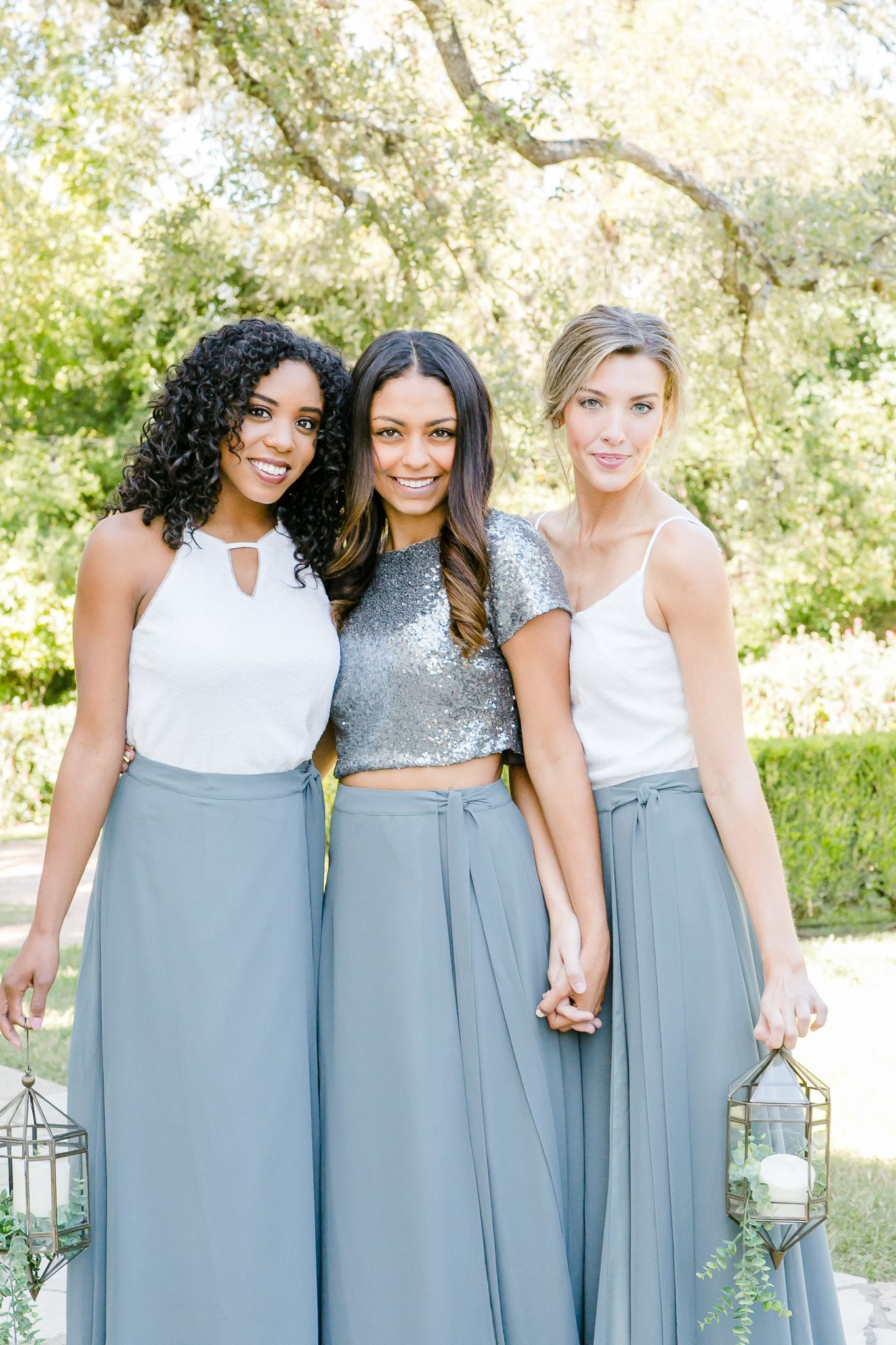Mix And Match Revelry Bridesmaid Dresses And Separates Photo Features White Sequins And Bridesmaid Separates Bridesmaid Dresses Separates Wedding Dress Outfit