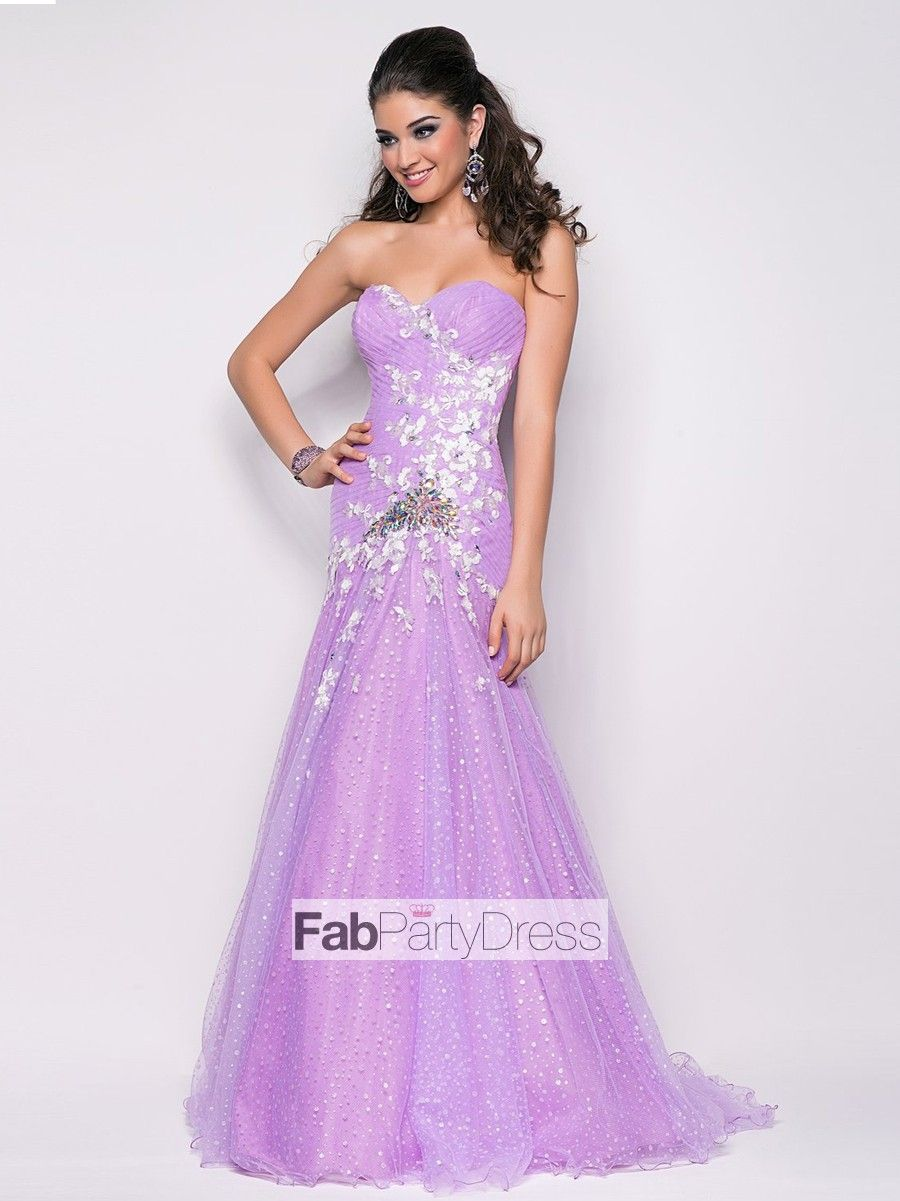 2013 Style A-line Sweetheart Applique Sleeveless Floor-length Tulle Prom Dresses / Evening Dresses (SZ0300259) - FabPartyDress.com
