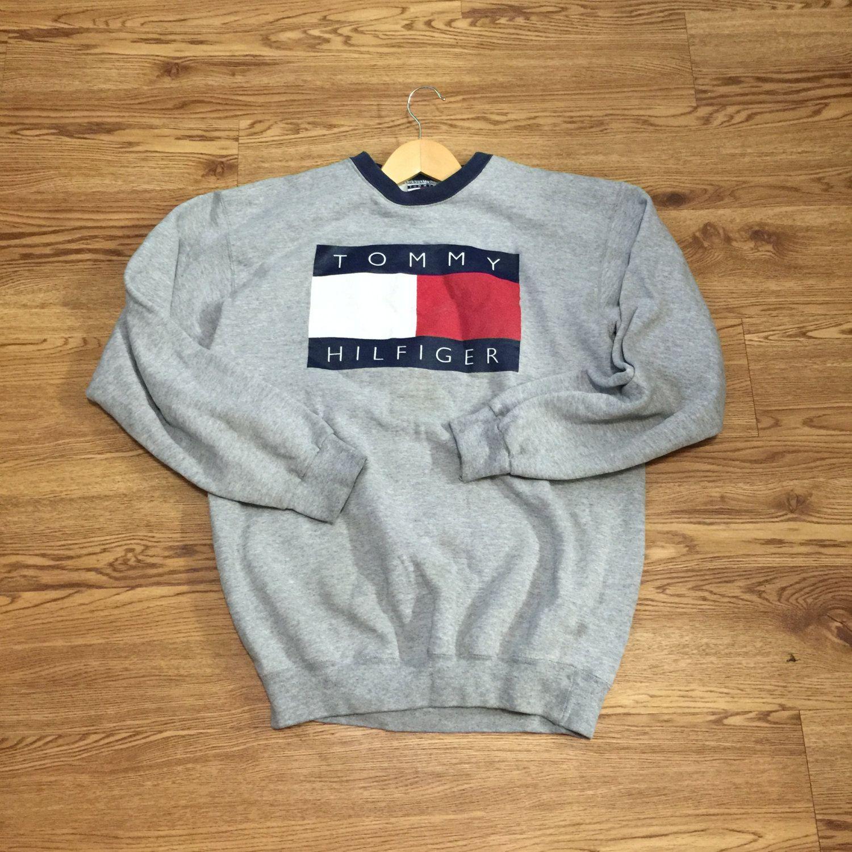 Vintage Tommy Hilfiger Box Logo Crewneck Sweatshirt Tommy Hilfiger Sweatshirt Sweatshirts Fresh Clothes [ 1500 x 1500 Pixel ]
