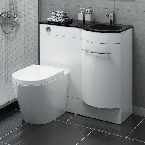 900mm Alexis Gloss White Combined Vanity Unit Black Glass Basin Lyon Pan Bathroom Vanity Units Fitted Bathroom Furniture Bathroom Furniture Storage