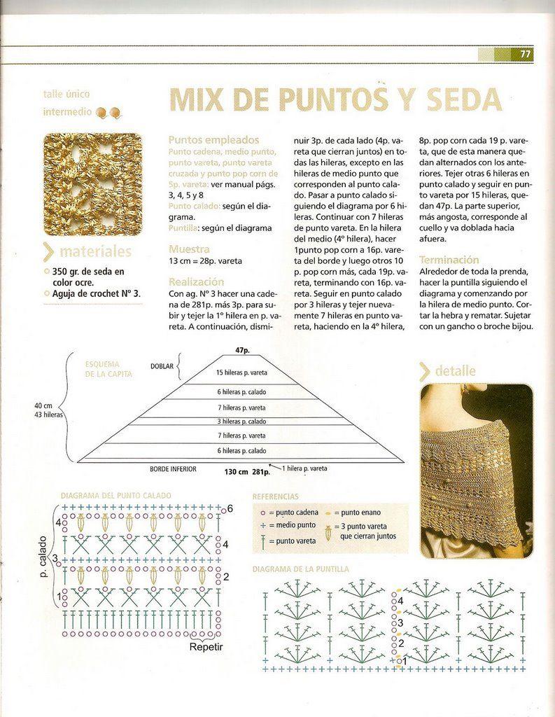Pin de Silvia Mabel Rodríguez en chales crochet | Pinterest | Chal ...