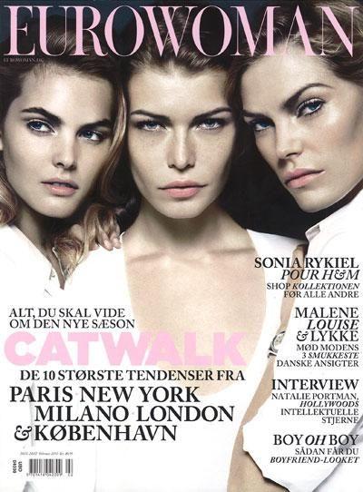Malene Knudsen Louise Pedersen May Andersen Eurowoman Denmark February 2010 Magazine Cover Beauty Inspiration Cover