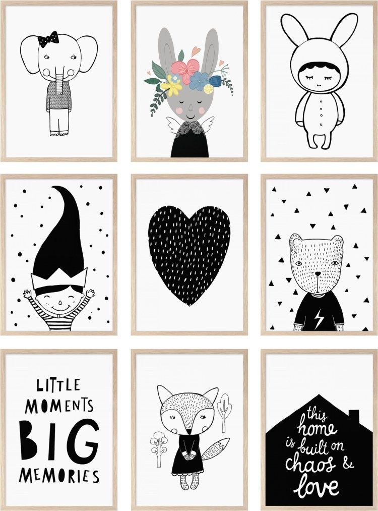 Monochrome posters kids room more