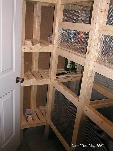 Food Storage Ideas   How To Build A Cold Storage Room In Basement. Cold Room  Frame And Vent System Idea, Shelving With Wood Shelves, Vegetable Bins.