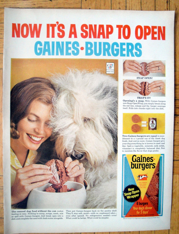 1965 English Sheep Dog Gaines Burgers Dog Food Original 13 5 Etsy Food Animals Sheepdog Burger Dogs