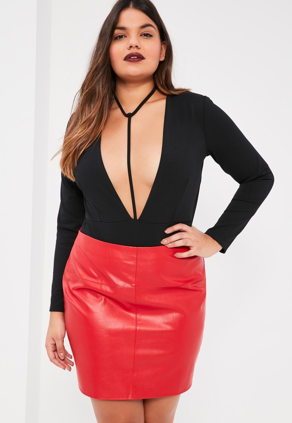 Missguided - Plus Size Black Harness Plunge Bodysuit | Clothes ...
