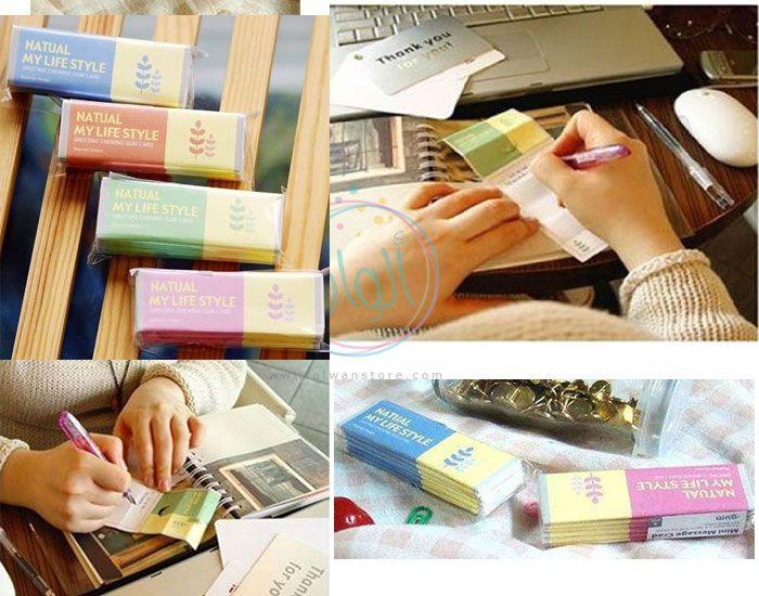 بطاقات أو نوت او لكتابة رسالة صغيرة على شكل علبة علكة كل علبة يأتي فيها عدد 6 بطاقات متوفر الآلوان الاربعة ازرق زهري اخضر برتقالي السعر 15 ريال سعودي