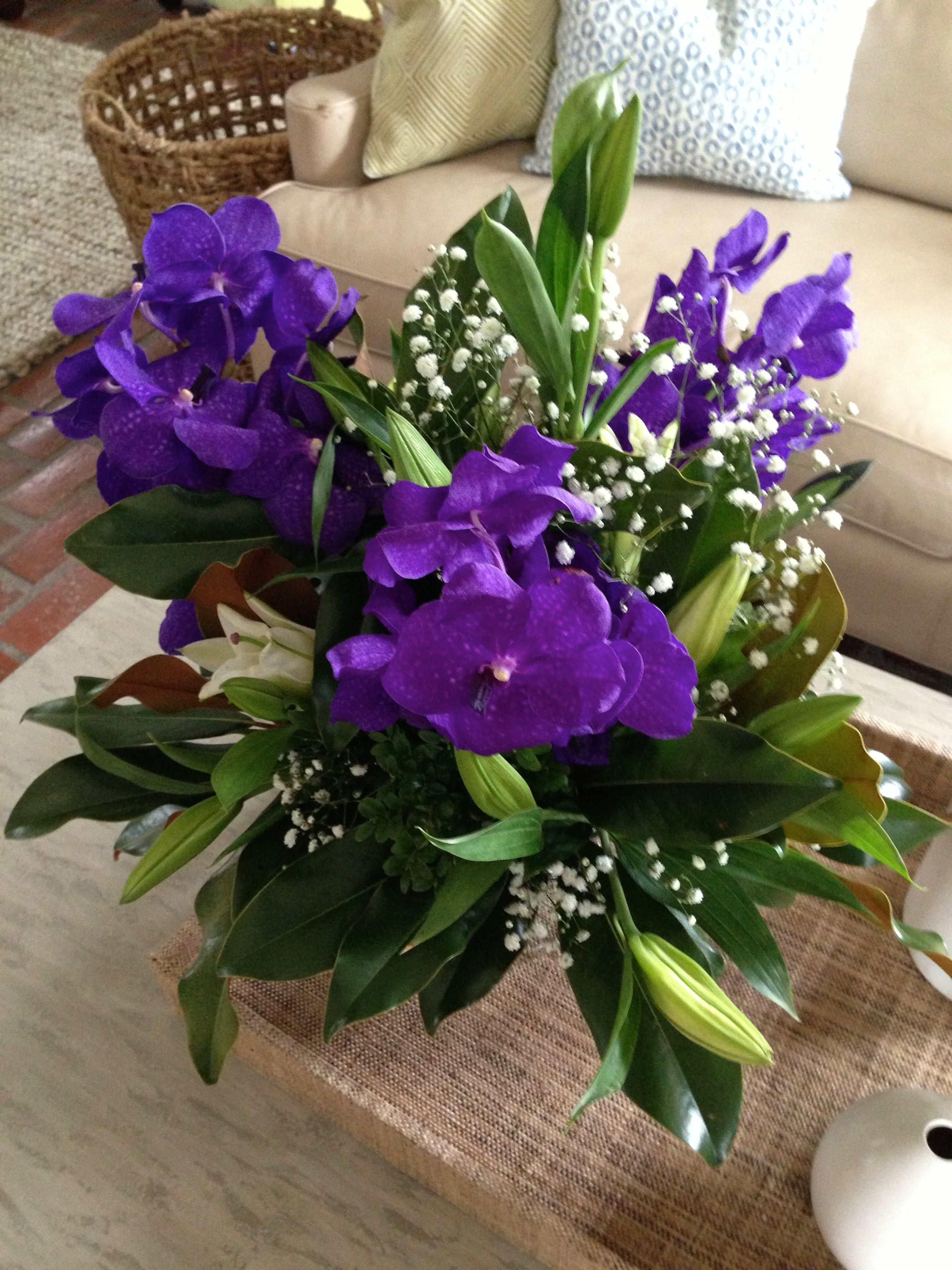 Purple Orchid and Casablanca Lilies