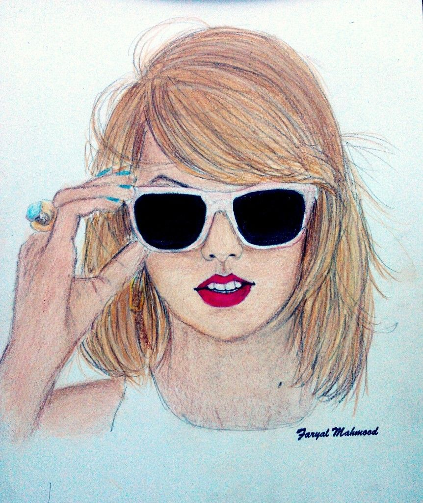 Taylor swift color pencil sketch