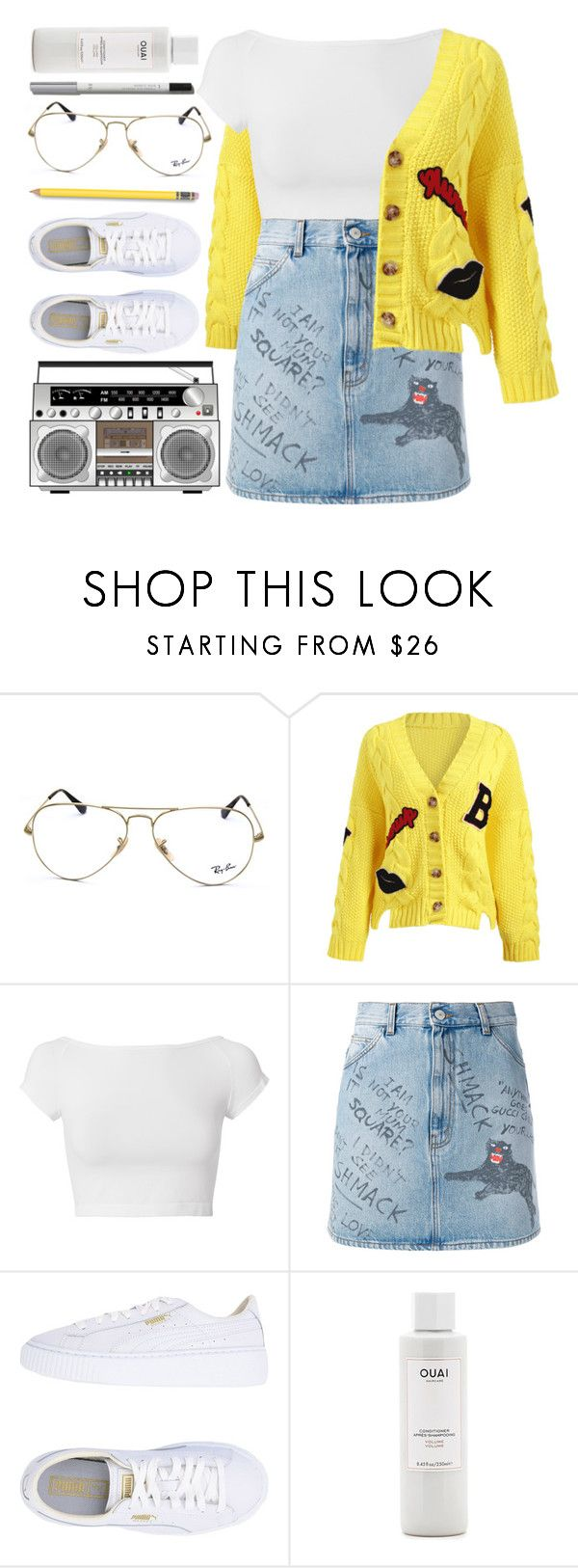 """Yellow Jumper"" by monmondefou ❤ liked on Polyvore featuring Ray-Ban, Helmut Lang, Gucci, Puma, Lumene, white and yellow"