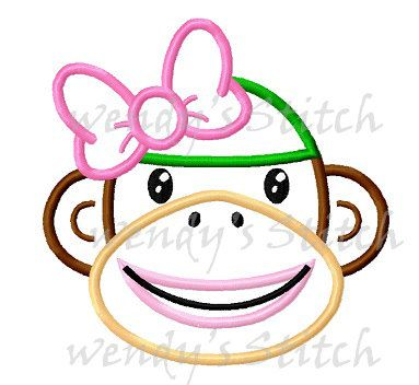 Girl sock monkey applique machine embroidery by WendysStitch