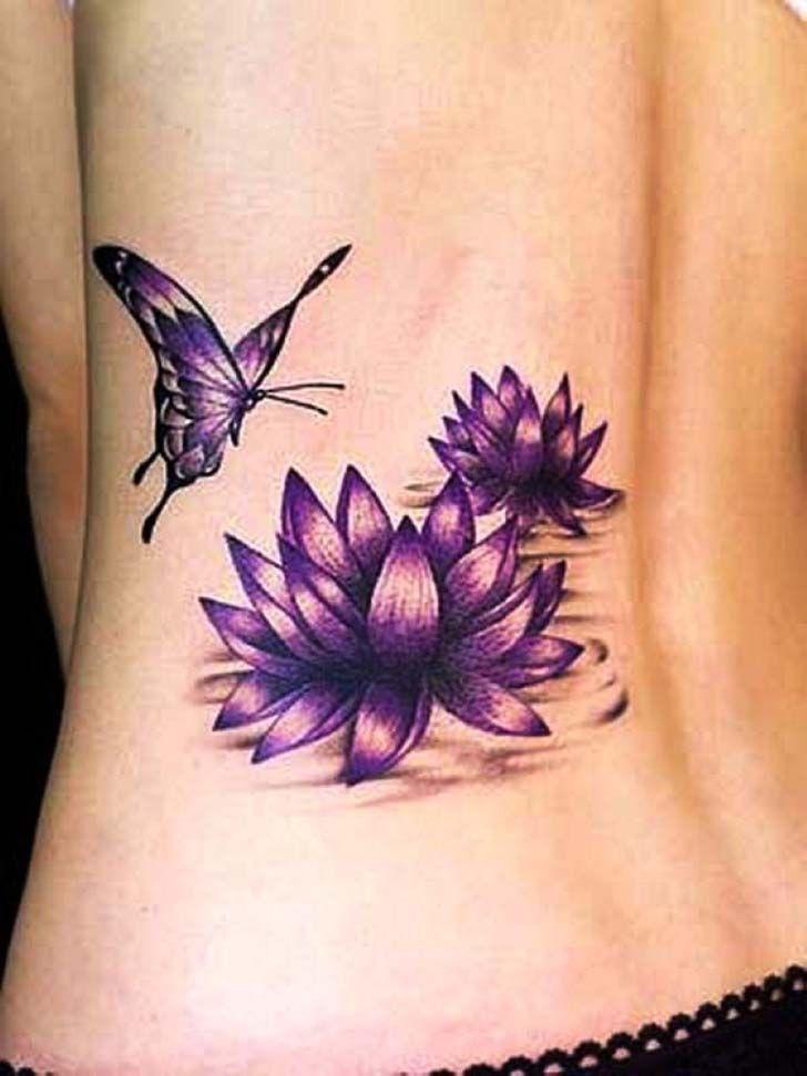 lotus flower tattoos on lower back side | Tattoo Designs ...
