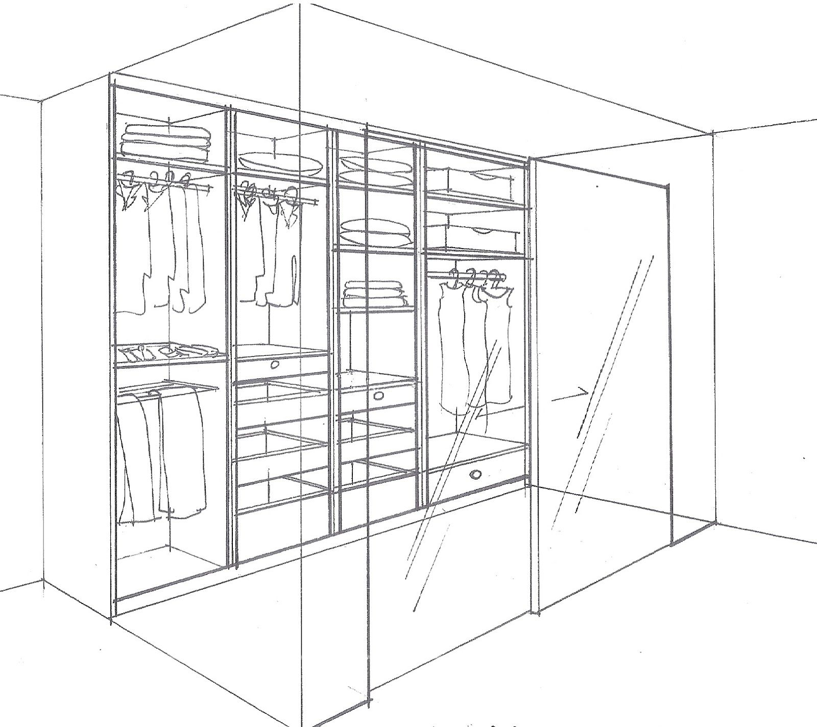 walk in wardrobe drawing in perspective Google Search